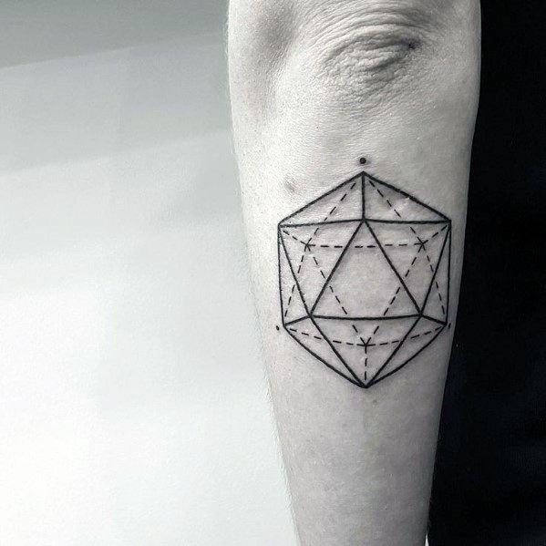 Sharp Icosahedron Male Tattoo Ideas