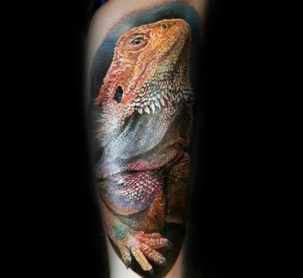 Sharp Iguana Male Tattoo Ideas