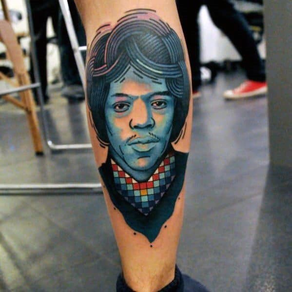 Sharp Jimi Hendrix Male Back Of Leg Tattoo Ideas