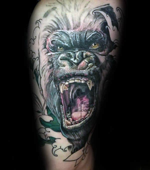 50 king kong tattoo designs for men furious gorilla ink ideas. Black Bedroom Furniture Sets. Home Design Ideas
