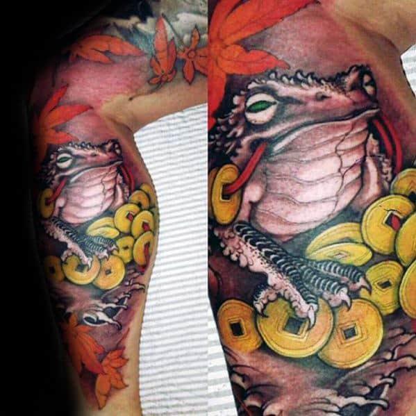 Sharp Leg Sleeve Toad Male Tattoo Ideas