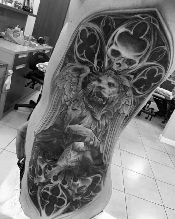 Sharp Lion Statue Male Tattoo Ideas Full Rib Cage Side Of Body