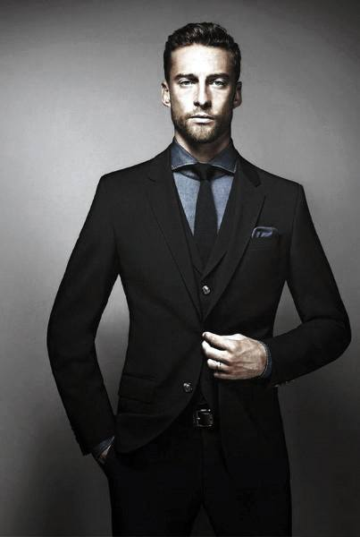 Sharp Mens Black Suit Styles With Blue Dress Shirt