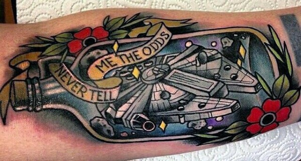 Sharp Millennium Falcon Male Tattoo Ideas