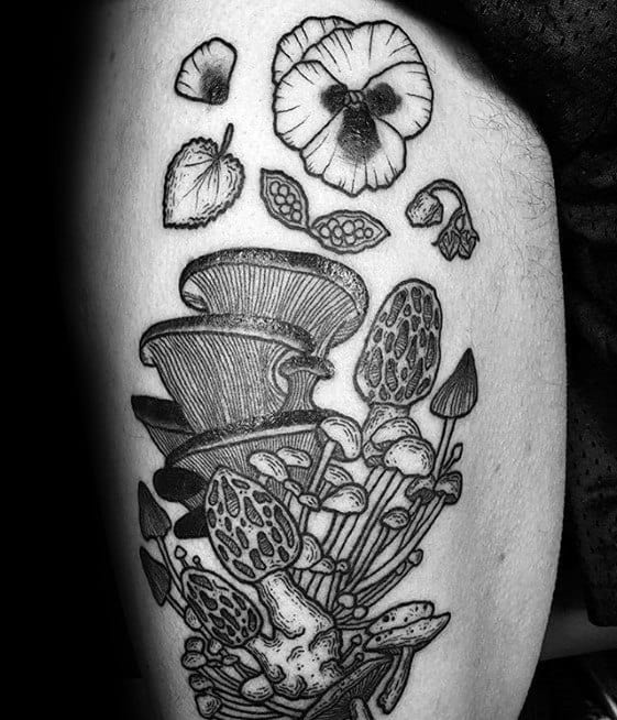 Sharp Mushroom Male Tattoo Ideas On Thigh