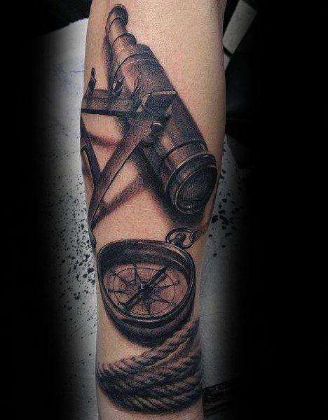 Sharp Nautical 3d Telescope Male Tattoo Ideas On Forearm