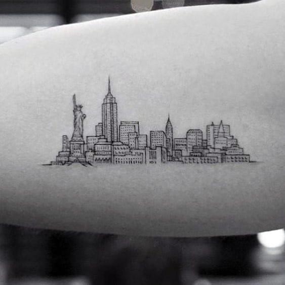 Sharp New York Skyline Male Tattoo Ideas