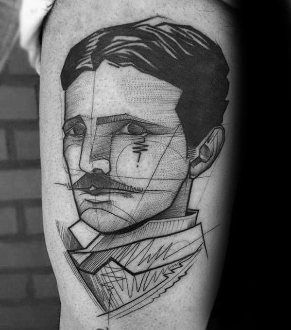 Sharp Nikola Tesla Male Tattoo Ideas