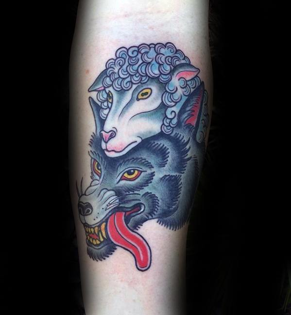 Sharp Old School Wolf In Sheeps Clothing Forearm Male Tattoo Ideas