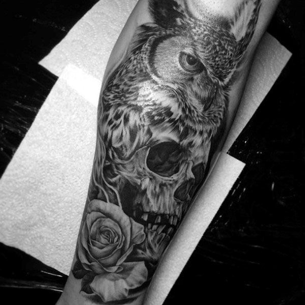 Tattoo Leg Man Rose Flower Black And White: 50 Owl Skull Tattoo Designs For Men
