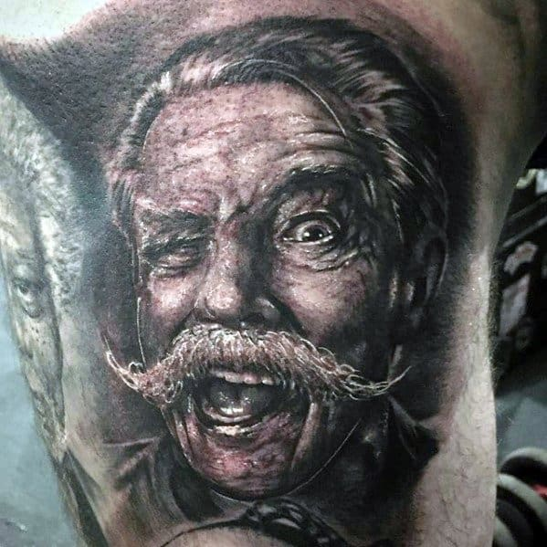Sharp Portrait Male Tattoo Ideas On Thigh Of Leg