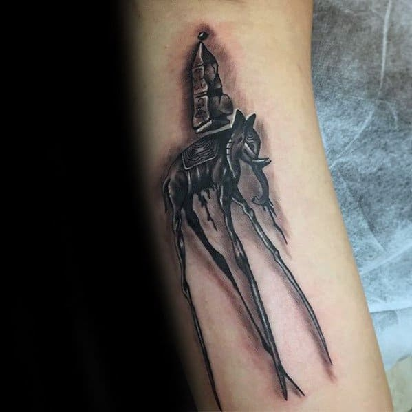 Sharp Salvador Dali Elephant Male Tattoo Ideas