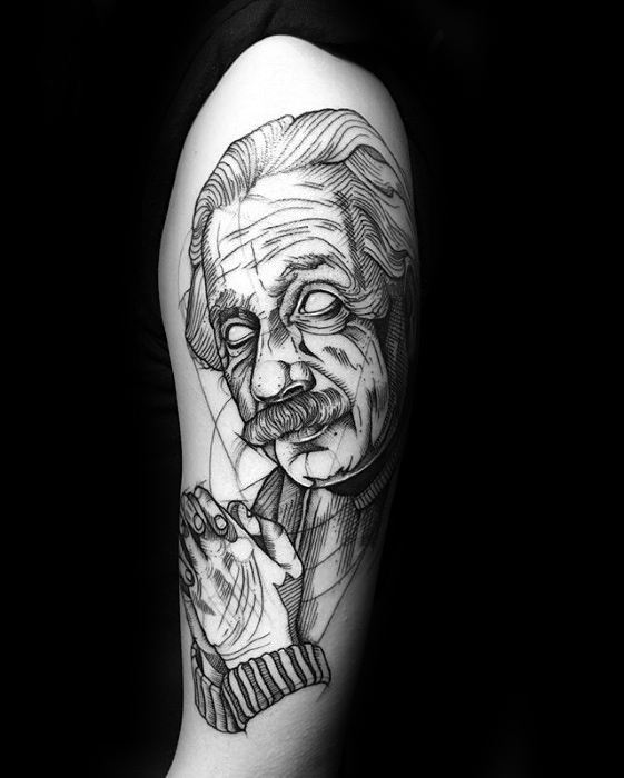 Sharp Sketched Black Ink Arm Albert Einstein Male Tattoo Ideas