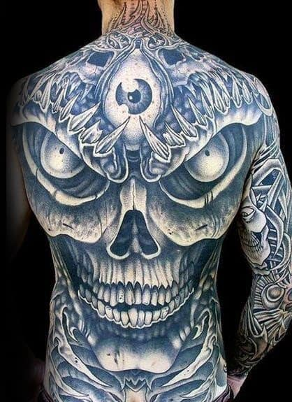 Sharp Skull Back Male Tattoo Ideas