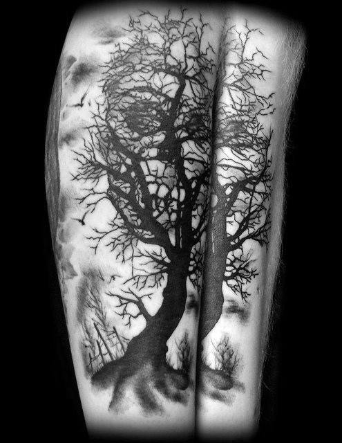 Sharp Skull Tree Male Tattoo Ideas