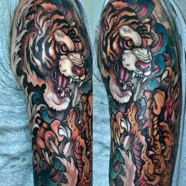 sharp-tiger-half-sleeve-dragon-male-tattoo-ideas
