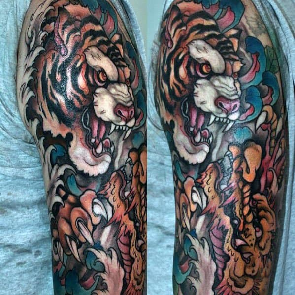 Sharp Tiger Half Sleeve Dragon Male Tattoo Ideas