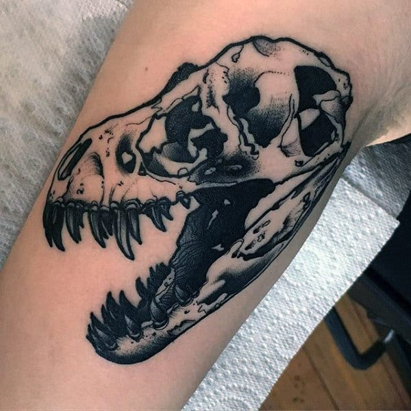 Sharp Toothed Dinosaur Skull Tattoo Male Forearm