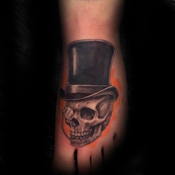 Sharp Top Hat Male Foot Tattoo Ideas