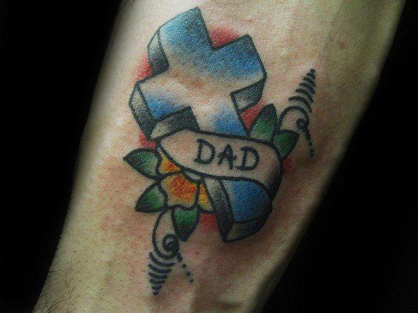 Sharp Traditional Cross Male Tattoo Ideas