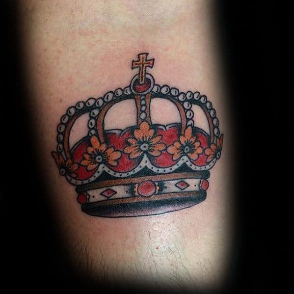 Sharp Traditional Crown Male Tattoo Ideas