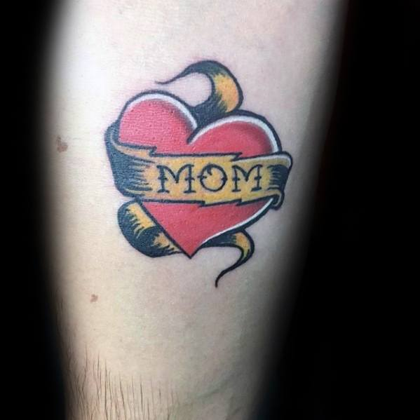Sharp Traditional Mom Heart Gold Banner Male Tattoo Ideas On Forearm