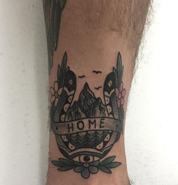 Sharp Traditional Mountain Male Tattoo Ideas