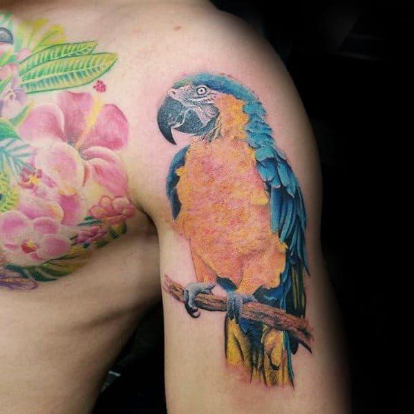 Sharp Upper Arm 3d Parrot Male Tattoo Ideas