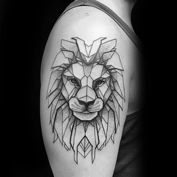 Sharp Upper Arm Geometric Lion Male Tattoo Ideas