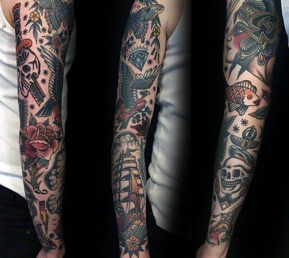 Sharp Vintage Male Tattoo Ideas Full Arm Sleeve