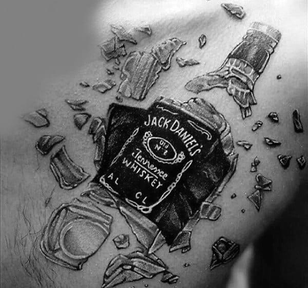 Shattered Jack Daniels Bottle Mens Chest Tattoo Designs