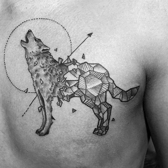 Shattered Rock Geometric Wolf Mens Upper Chest Tattoos