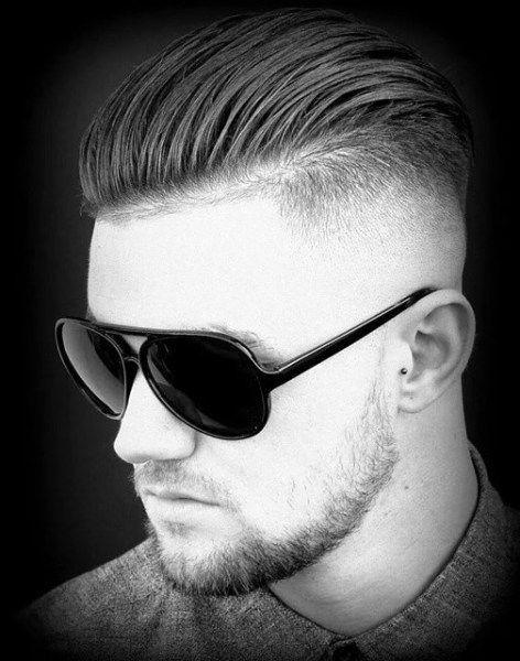Shave Sides High Fade Mens Slicked Back Hair