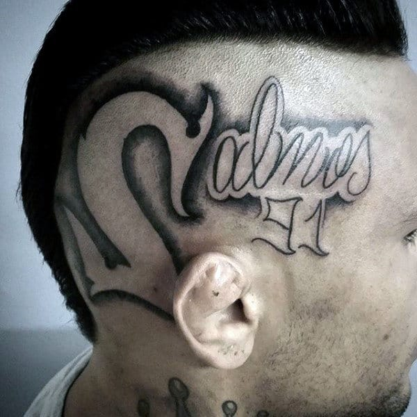 Shaved Head Scripture Tattoo Designs Men