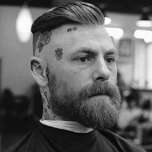 Shaved Sides Short Length Mens Slicked Back Haircuts