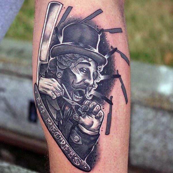 Shaving Blade Barber White Ink Guys Tattoo On Arm