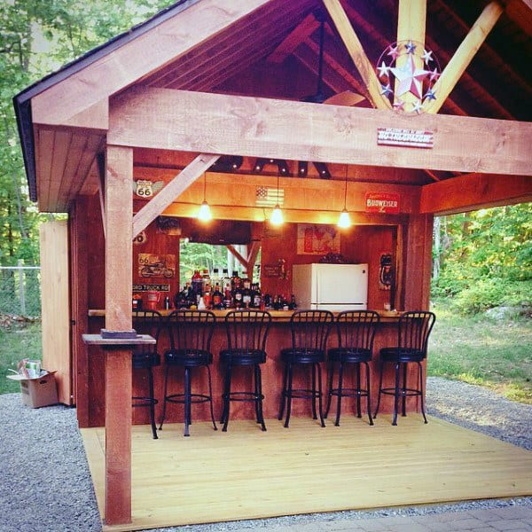 50 Pub Shed Bar Ideas For Men - Cool Backyard Retreat Designs on Small Backyard Bar Ideas id=97824