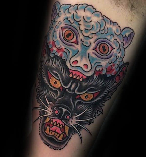 Sheep And Wolf Inner Arm Bicep Tattoos For Gentlemen