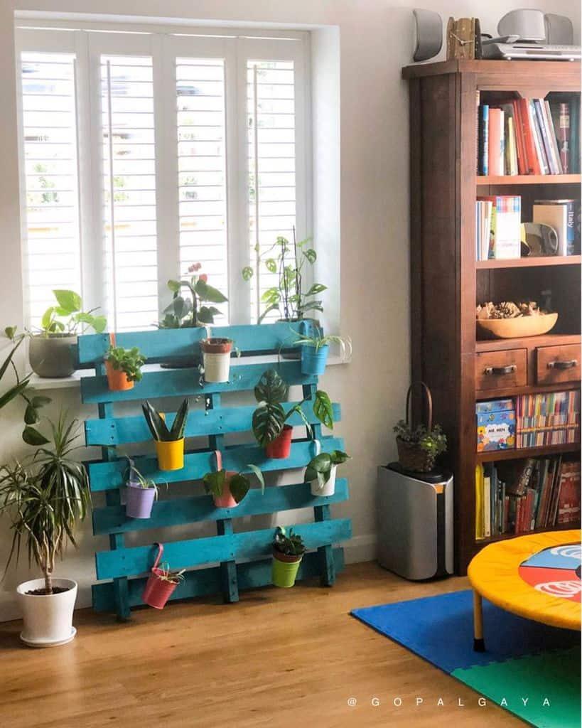 shelf and pot hanger pallet garden ideas gopalgaya