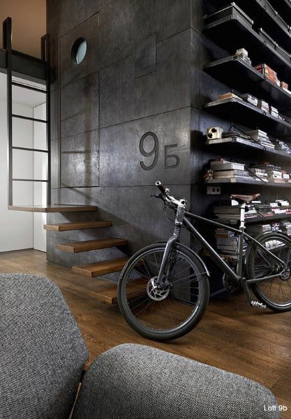 Shelves With Staircase Loft Ideas With Industrial Decor