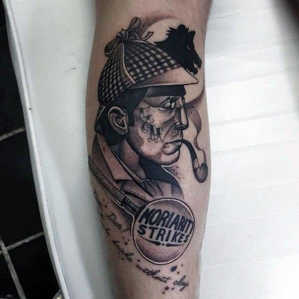 Sherlock Holmes Male Tattoo Designs On Leg