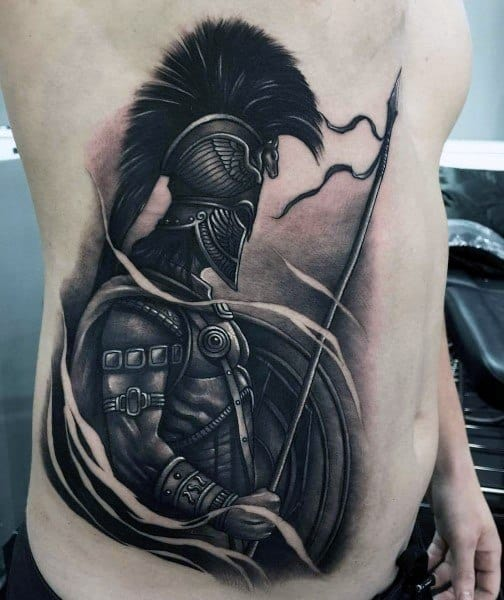 Shield 3d Warrior Rib Cage Side Tattoo For Men