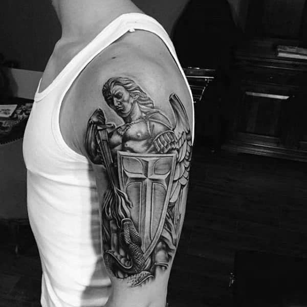 Shield Angel Mens Arm Tattoo