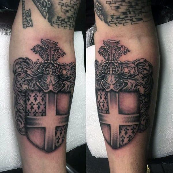 Shield Family Crest Mens Tattoo On Inner Forearm