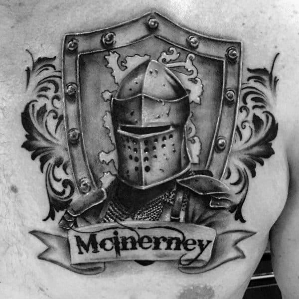 Shield Guys Upper Chest Knight Helmet Family Crest Tattoo