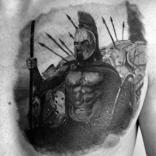 Shield Mens 3d Spartan Chest Tattoo