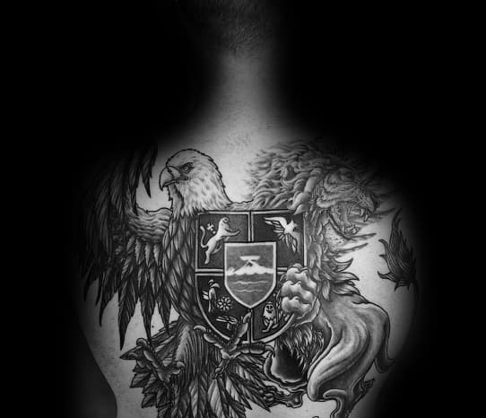 Shield Mens Eagle With Lion Back Tattoo