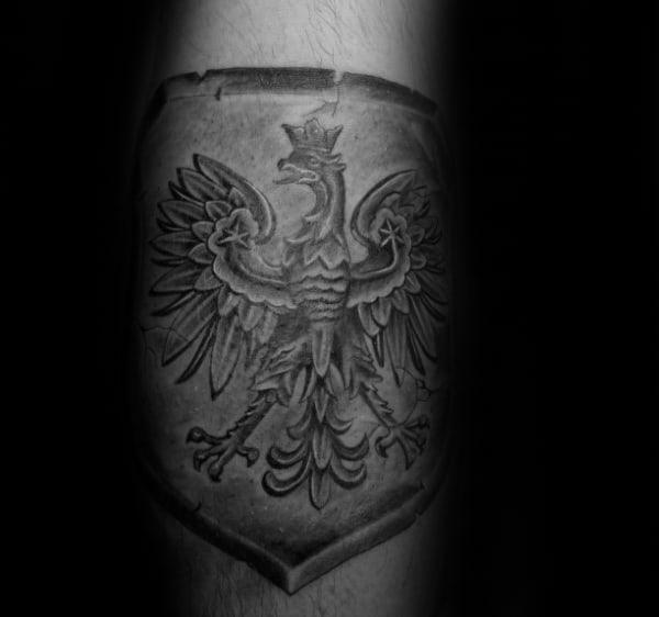 Shield Polish Eagle Arm Tattoos For Men