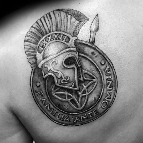 Shield Spartan Mens Shoulder Tattoo