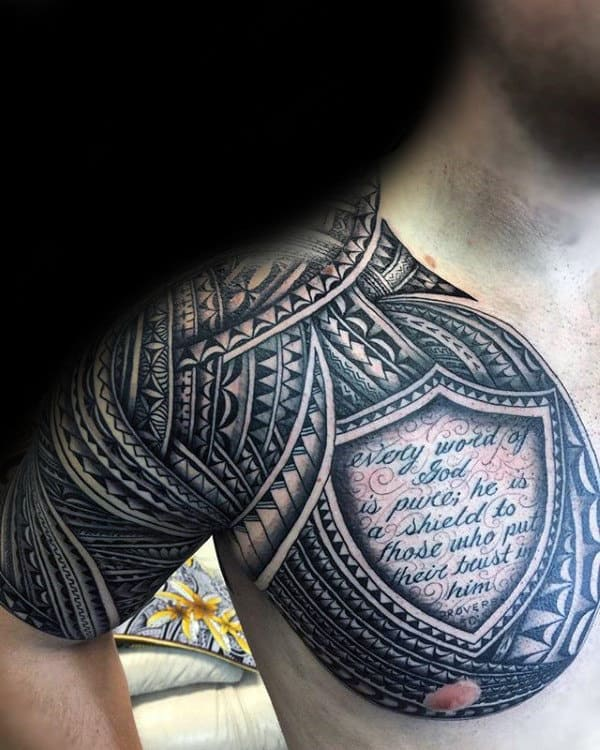 Shield With Samoan Tribal Design Mens Chest And Half Sleeve Tattoo